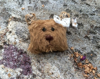 Teddy bear brooch - brown
