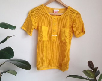 Knitted Mustard Shirt or Swimsuit Cover-up Sz UK10