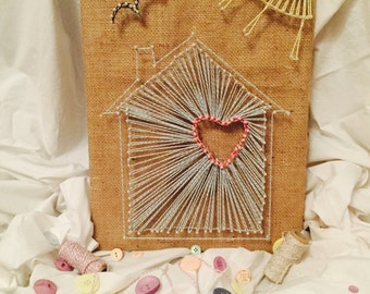 Handmade String Art Picture - Home is where the heart is