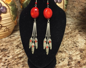 Red Coral & Feather Earrings