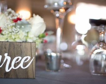 Wooden Table Numbers (For weddings or events)
