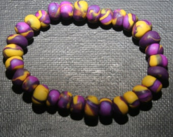 LSU Colored Polymer Clay Bracelet