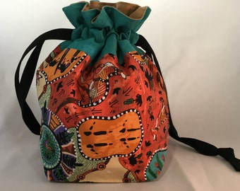 Project Bag for Knitting, Small Drawstring Project Bag. Yarn Tote, Travel, Toiletry, Make-Up, Gift Bag, Yarn Storage - Australia, Kangaroos