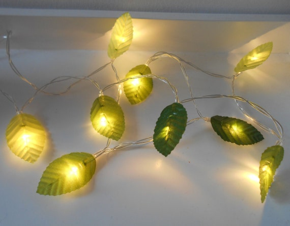 Green Leaves Fairy Lights String Lights LED by AutumnWeddings