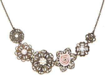 Bridal Vintage Style Necklace, Bridal Floral Bib Necklace, Bridal Romantic Necklace Gift, Bridal Statement Necklace, Brass Flowers Necklace
