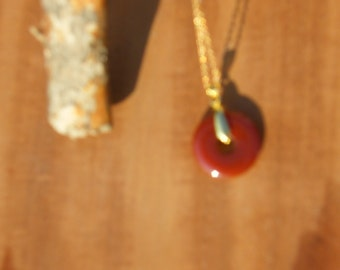 Chinese Ping Peace Pendant {Red Agate} with clasp and chain - free shipping