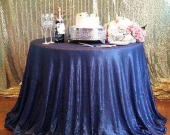 120 inch Round Navy Blue Sequin Table Cloth, Navy Sequin Tablecloth, Navy Blue Sequin Wedding Table Cloth
