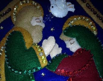"Bucilla Christmas Stocking ""Silent Night"" / Personalized Embroidered Gift / Handmade Felt Finish / Bucilla Christmas Holiday Decoration Idea"