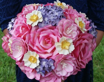Paper Flower Bridal Bouquet-Roses and Hydrangeas