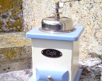 Vintage French coffee grinder, original blue and white.