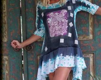 tunic boho pleated batik