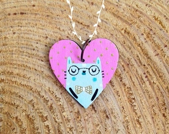 Cat pendant with glasses and bow tie