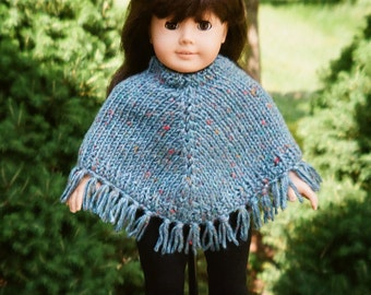 "Fringed Doll Poncho - Fits American Girl Doll - 18"" Doll Poncho - Hand Knit - Doll Acceossories - AG doll sweater"