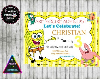 spongebob invitation  etsy, party invitations