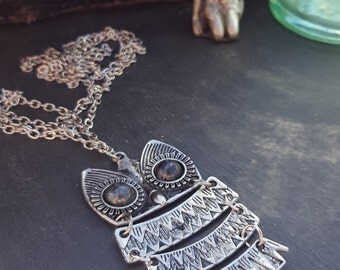 SALE  Vintage Style Owl Pedant, rustic, boho, silver coloured, owl necklace