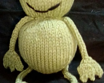 Knitted, Green,  frog, toy