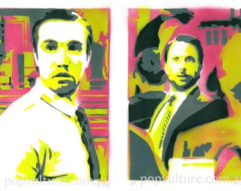 Its Always Sunny in Philadelphia limited edition spray paint serigraph print set of 2 A4, Charlie & Mac, 3 color variants available