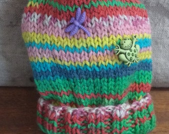 Dragonfly and frog striped newborn hat