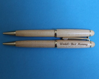 World's Best Mommy Laser Engraved Maple or Rosewood Pen.