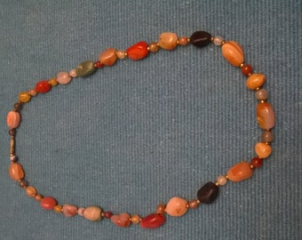 Necklace with semiprecious stones, colorful, and screw back vintage