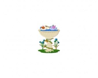 Mini bird bath machine embroidery design, bird bath embroidery design, bird embroidery design, bird embroidery design