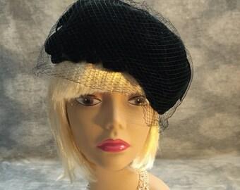 Vintage black velvet scalloped pill box hat with veil