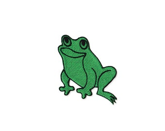 Frog Patch - Green Frog  Embroidered Iron on Patch - Frog Iron on Applique