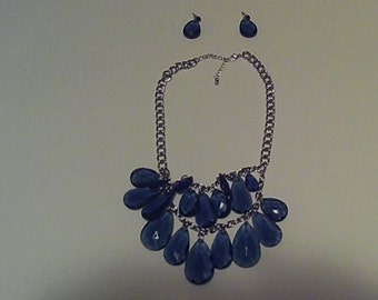 Blue Chandelier Necklace/ Earrings