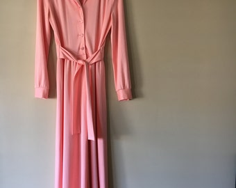 Vintage 1960s 1970s Malouf of Dallas Peach Blush Pink Button Up Maxi Dress Size Small Medium
