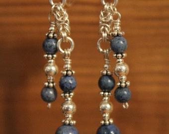 Silver earrings and Dumortierite