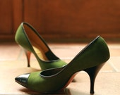 Vintage Socialites 'Red Cross Shoe' Olive Green Suede and Black Leather 7 B/AA with 3.5 inch heel