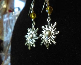 Celestial sun dangle earrings