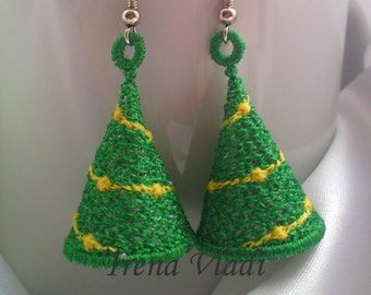 FSL 3D Christmas Tree Free Standing Lace earrings/pendant Machine Embroidery design 4x4hoop -1 size, original lace/Christmas tree decoration