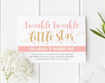 Twinkle Twinkle Little Star First Birthday Invitation/Girl Birthday Invites/Pink and Gold/One/1st Birthday Invite/Little Girl/Printable