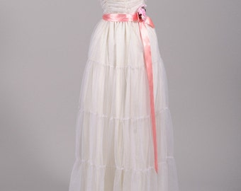 1970 Chiffon Peasant Vintage Wedding Gown