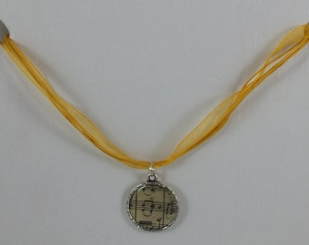 Music Note Necklace with Gold Ribbon