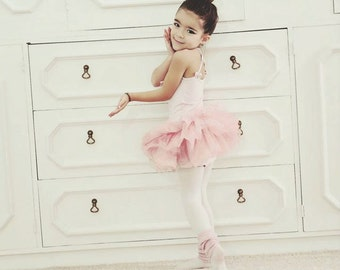 Girls Ballet Leotard- Girls and Toddlers_ Pink Ballet Leotard-Tutu skirts