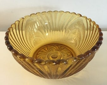 Rare Vintage Amber Glass Bowl Candy Dish Gold