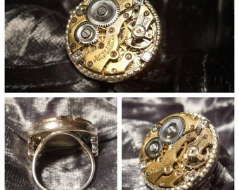 Sterling Silver Steampunk ring with Vintage watch movement and Geniune Princess Cut Diamonds