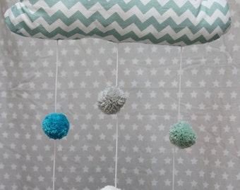 Mobile cloud Pompom-shaped Green and white