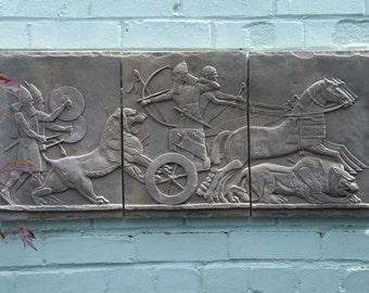 """Large Garden Sculpture Replica Assyrian Wall Panel 36"""""""