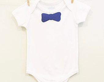 Organic Cotton Periwinkle Bow Tie Onesie