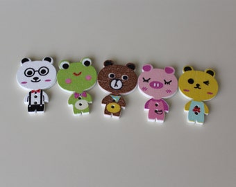 Cute Cartoon Animal Wooden Buttons (Set of 5)
