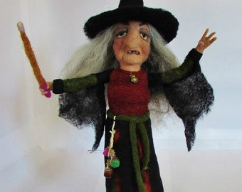 Myrah, handmade, needle felted, witch, witch doll, felted doll, OOAK, 100% wool fiber, art doll, collector's doll