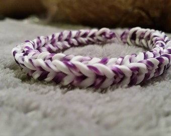 Double Band White and Purple with White Specks Loom Bracelet