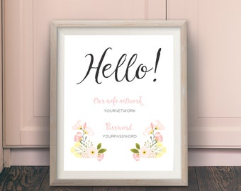 Pink Floral Printable WiFi Password Sign