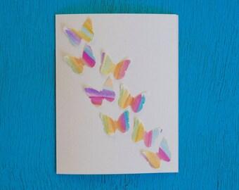 Watercolor Card - Butterflies in Flight