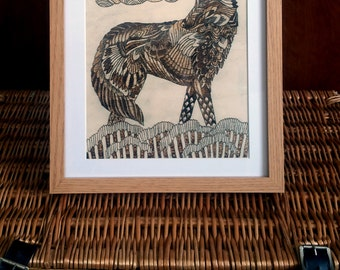Unique Pyrography Wood Burned Framed & Mounted Wolf