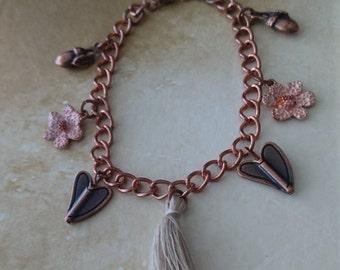 Autumn inspired woodland charm bracelet