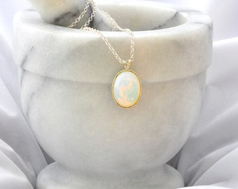 Sterling Silver Necklace- White Opal Glass Necklace- White Opal Pendant- April Birthday Gift- Handmade-White Opal Jewellery-Opal Jewelry-N21
